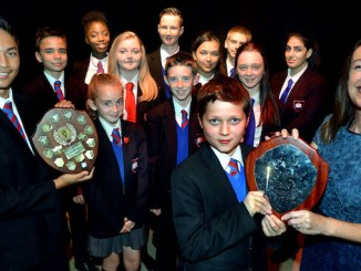 The St Antony's Catholic College prize winners with head Fiona Wright