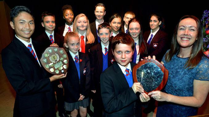 The St Antony's Catholic College prize winners with head Fiona Wright