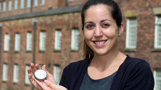 Quarry Bank archivist Ally Tsilika with the pocket watch