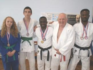 Skye Brizzi, Razak Mumuni, Magomed Maksudo, Timmy AlHassan and Dominic Agudo with Steve Pullen