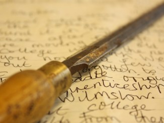 Jim Broadhead's chisel and letter sent to Stockport College