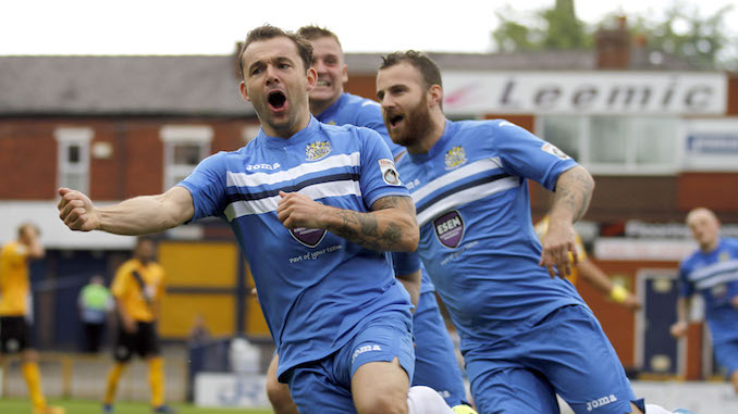 Danny Lloyd celebrates his goal for Stockport County against Boston
