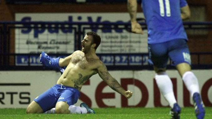 Scott Spencer celebrates his goal for Stockport County against AFC Fylde