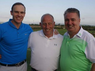 Jamie Howarth (left) with partner Kevan Tipper and sponsor Steve Moores in the Manchester and District Golf Alliance