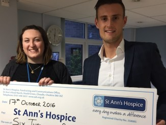 Kathryn Hoyle, community fundraising officer at St Ann's Hospice, with Tom Grant, organiser of the Bramall Park charity event