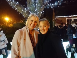 Angela Gray and Sally Dynevor at the Beechwood Tree of Lights