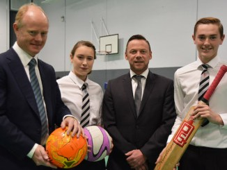 Andrew Law, head girl Tilly Fox, Paul Dickov and head boy George Balderson at the opening of Club Cheadle Hulme
