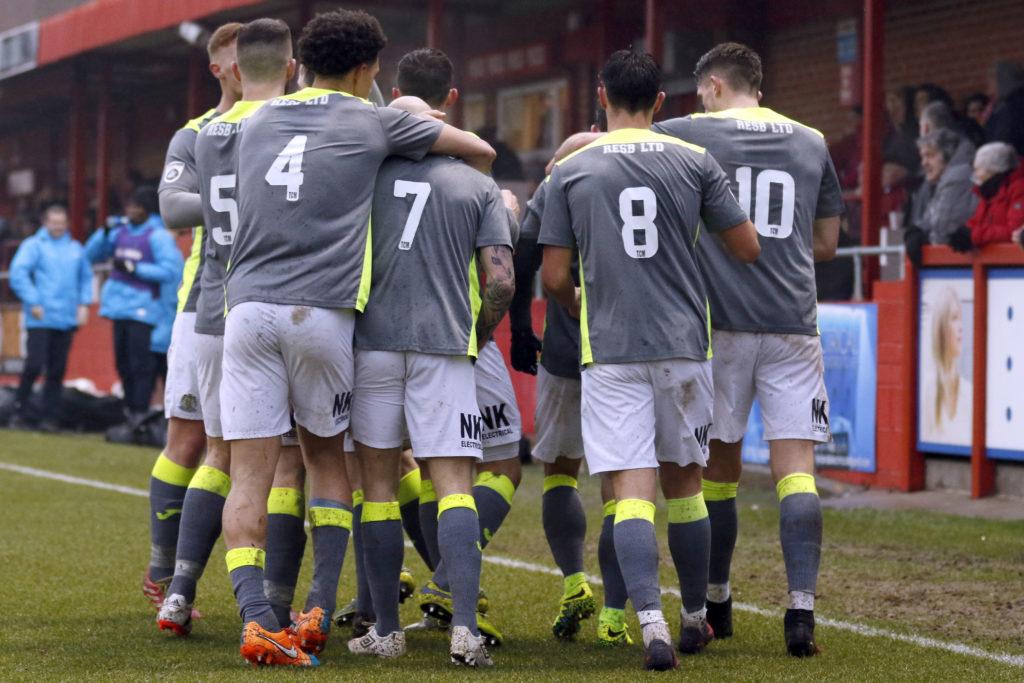 County celebrate Josh Amis opening goal against Alfreton