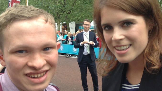 Seashell Trust student Daniel Follon with Princess Eugenie on the Mall at The Patron's Lunch