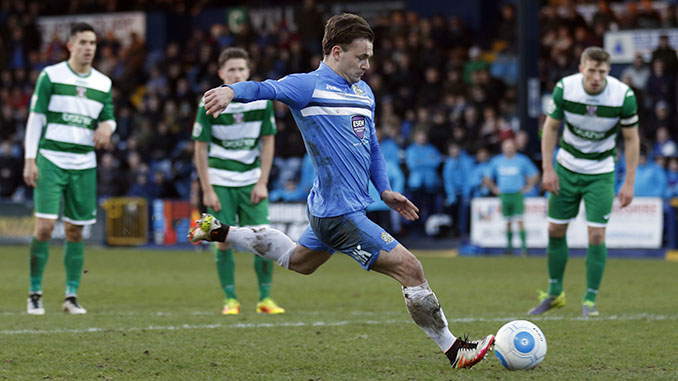 Danny Lloyd scores from the penalty spot for Stockport County (M Photographic)