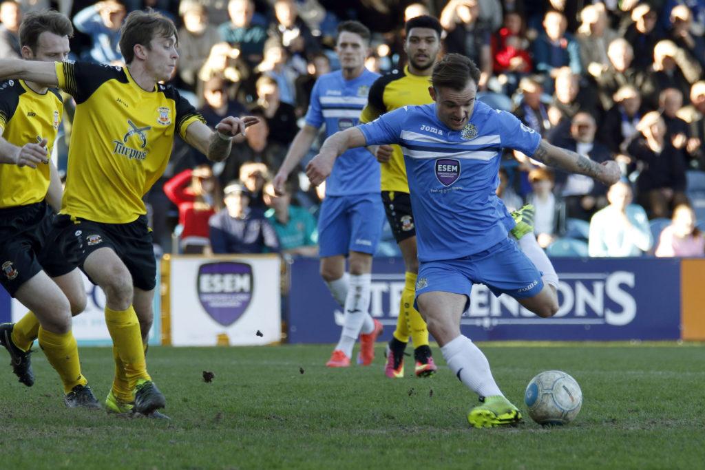 Danny Lloyd hits the winner for Stockport, against Tamworth,