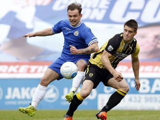 Danny Lloyd in action for Stockport County