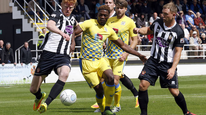 Darren Stephenson in action against Spennymoor (M Photographic)
