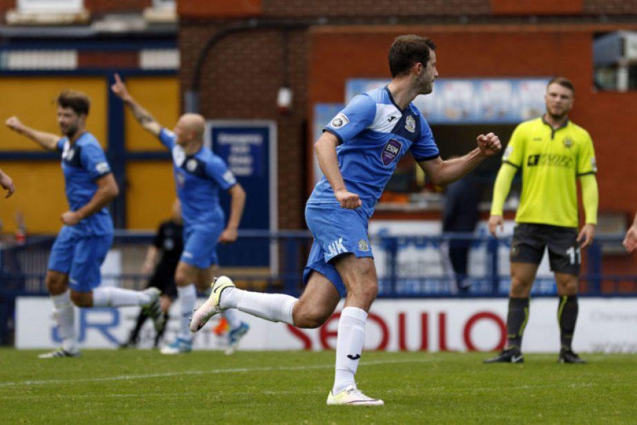 Stockport County celebrate Adam Thomas's goal