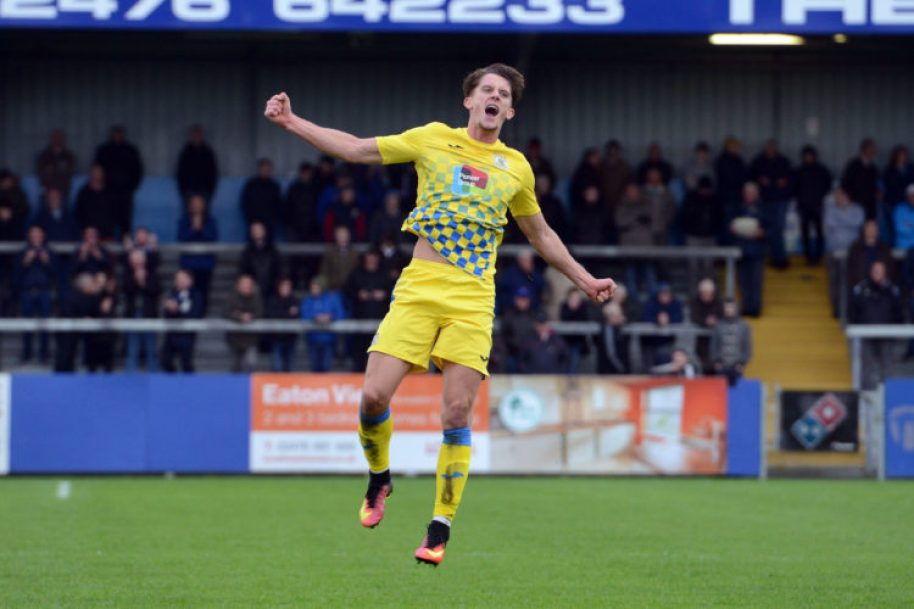 Jimmy Ball celebrates scoring from his free-kick, for Stockport County at Nuneaton Town