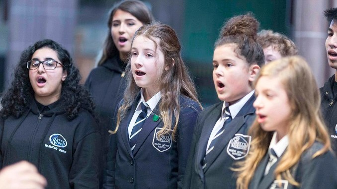 Parrs Wood High School Choir perform at the St Ann's Hospice Light up a Life service at Manchester Cathedral