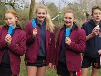 Hulme Hall pupils Charlotte Wynn, Emily Heap, Becky Moore and Matthew Furness