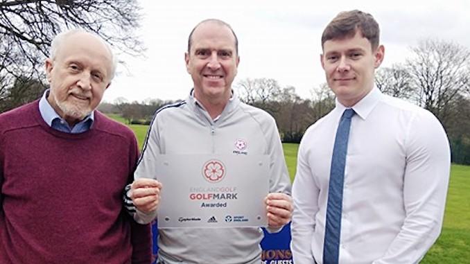 Sale Golf Club chairman Chris Boyes, England Golf's Sean Hammill and John Jackson