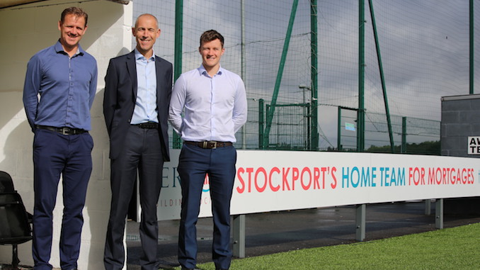 Stockport Town secretary Rob Clare with the Vernon's marketing team, Ian Keeling and Alexander Deakin