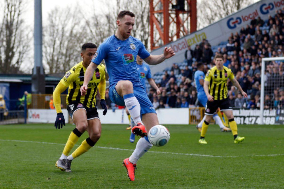 Jordan Keane on the ball for Stockport County