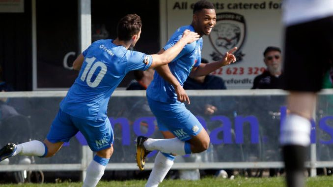 Nyal Bell. Hereford FC 2-2 Stockport County FC. Vanarama National League North. 6.4.19