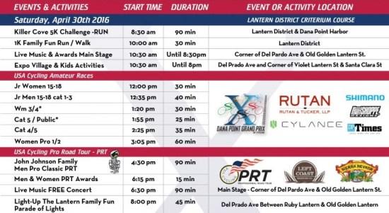 Dana Point Grand Prix Saturday April 30 2016 Schedule