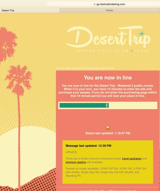 Desert Trip 2016 Passes Waiting Room by SouthOCBeaches.com