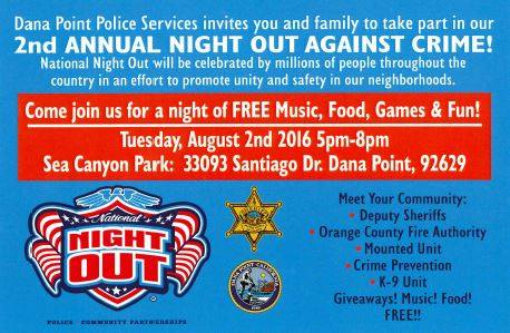Dana Point Night Out Against Crime August 2 2016