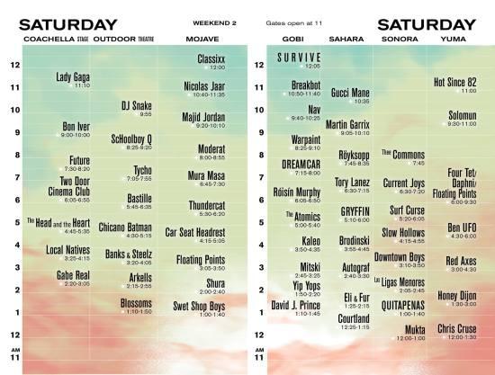 Coachella Saturday April 22 2017 Lineup Weekend 2