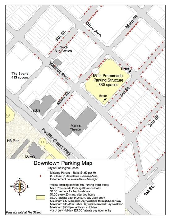 Huntington Beach Downtown Parking Map