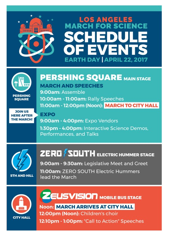 Los Angeles March For Science Schedule April 22 2017