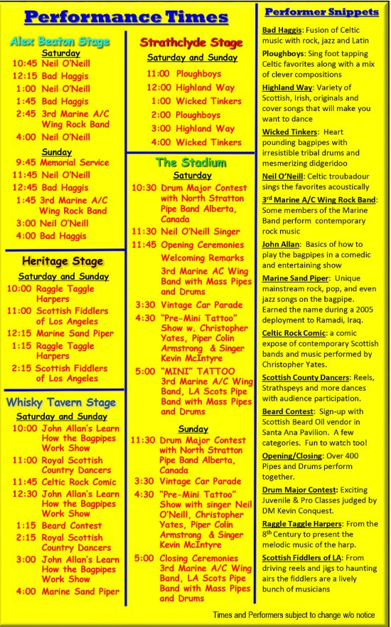 Scottish Festival May 2017 Schedule