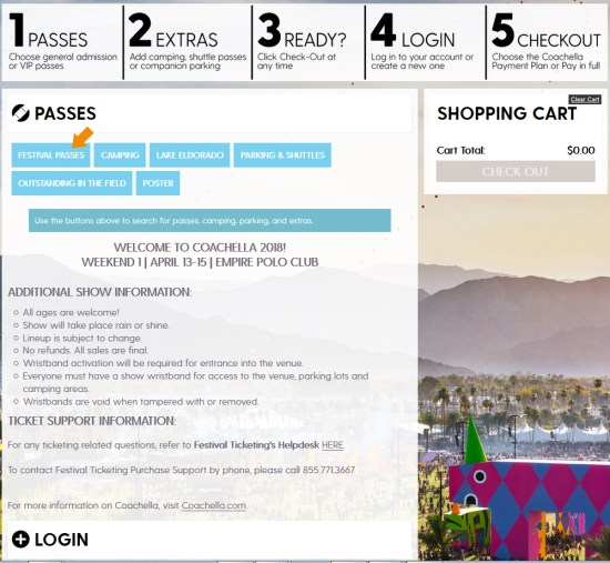 Coachella 2018 Weekend One Tickets Online Login