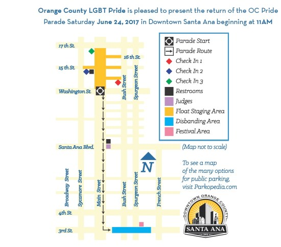 OC Pride Parade June 24 2017 Map