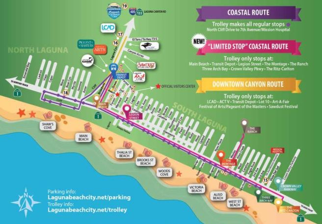 Laguna Beach Free Summer Trolley Map 2017