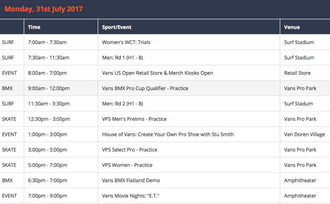 Vans US Open of Surfing Monday July 31 2017 Schedule