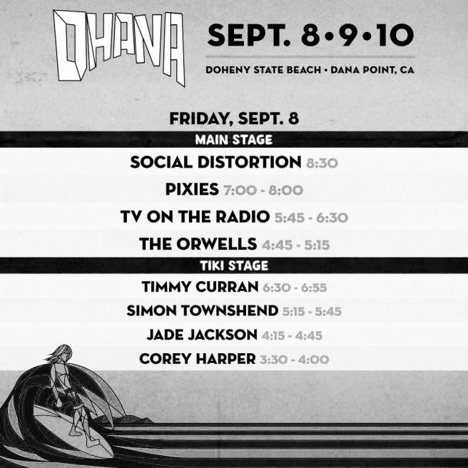Ohana Fest Doheny State Beach Set List September 8 2017