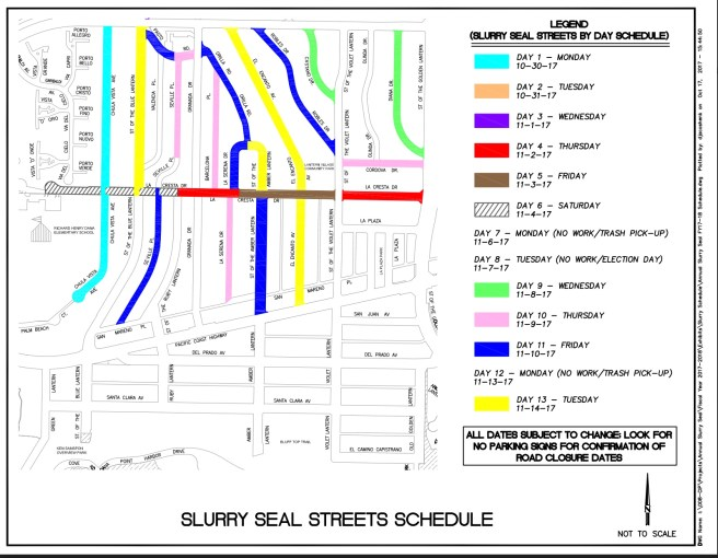 Dana Point California Slurry Seal Streets Schedule Fall 2017 Map #3