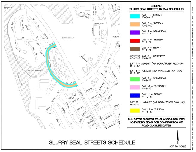Dana Point California Slurry Seal Streets Schedule Fall 2017 Map #5