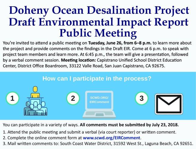 Doheny Ocean Desalination Project Public Reveiw