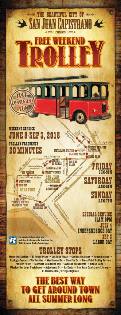 San Juan Capistrano Trolley Map Summer 2018