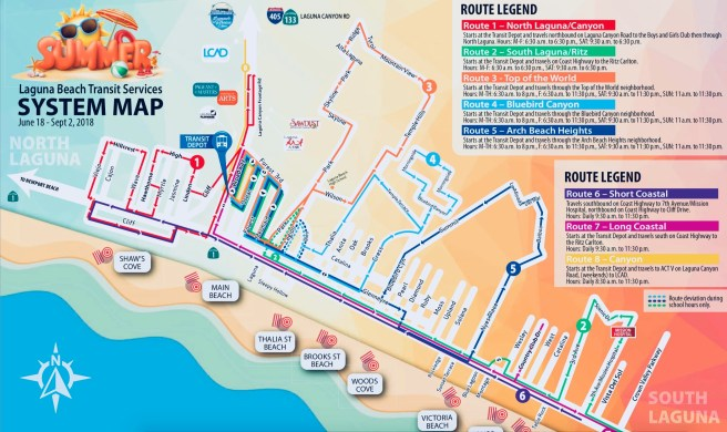 Laguna Beach Summer 2018 Coastal Trolley Map