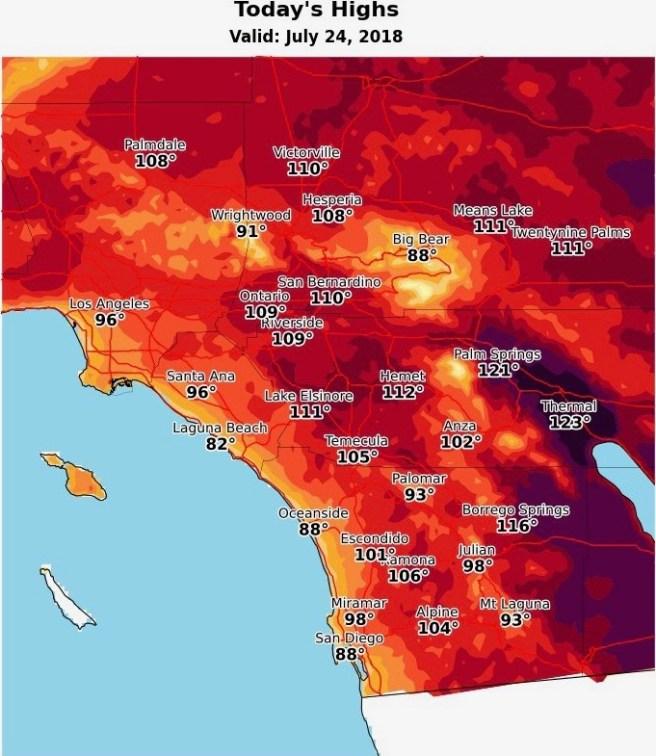Orange County Heat Wave Alert Tuesday July 24 2018 thru