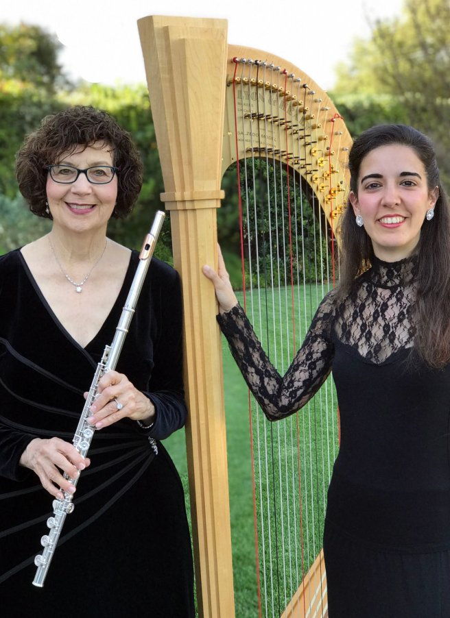 Flutist Susan Greenberg and Harpist Cristina Montes Mateo Courtesy of LagunaBeachLive.org