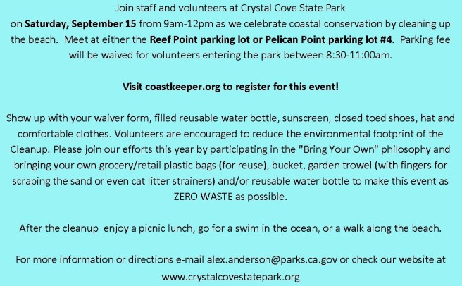 Crystal Cove State Park Coastal Cleanup Day September 15 2018