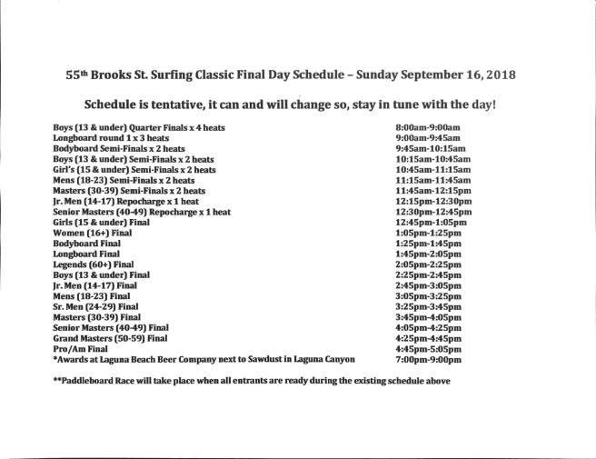 Laguna Beach Brooks St. Surfing Classic Sunday September 16 2018 Schedule