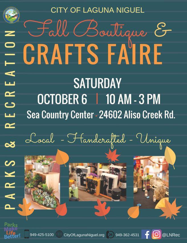 Laguna Niguel Fall Boutique & Crafts Faire October 6 2018