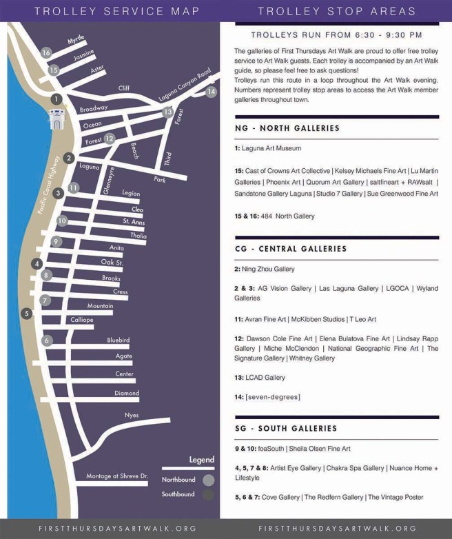 Laguna Beach First Thursdays Art Walk Fall 2018 Map