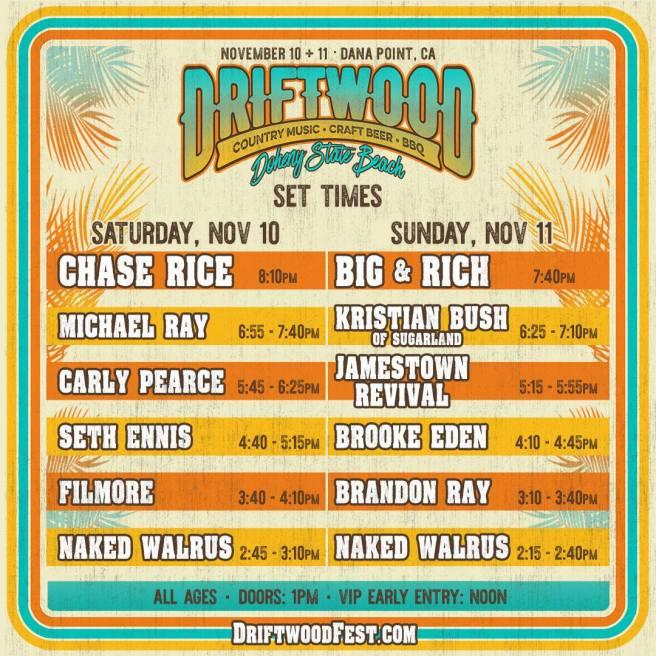 Driftwood Festival November 2018 Set Times