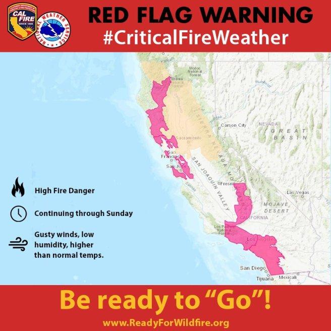 Red Flag Warning CA Fire November 10-November 11 2018
